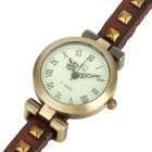 Women's PU Leather Three Circle Band Analog Quartz Wrist Watch - Brown + Bronze