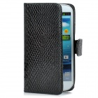 Cool Snake Skin Style Protective PU Leather Case for Samsung Galaxy S3 i9300 - Black