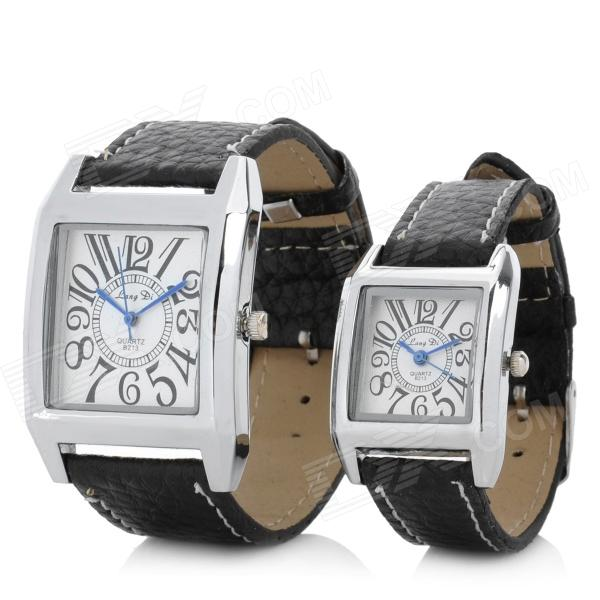 Lover's PU Leather Band Analog Quartz Wrist Watch - Black + Silver (1 x 377 / 2 PCS) s012 stylish shiny crystal inlaid leaf patterned analog quartz wrist watch w pu band 1 x 377