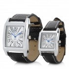 Lover's PU Leather Band Analog Quartz Wrist Watch - Black + Silver (1 x 377 / 2 PCS)