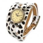 Retro Leopard Grain Pattern Cow Leather Band Quartz Analog Bracelet Wrist Watch - White + More