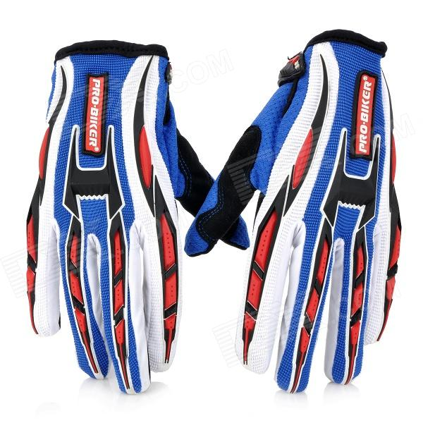 PRO-BIKER CE-01 Full-Fingers Motorcycle Racing Gloves - Blue + White + Black + Red (Pair / Size M)