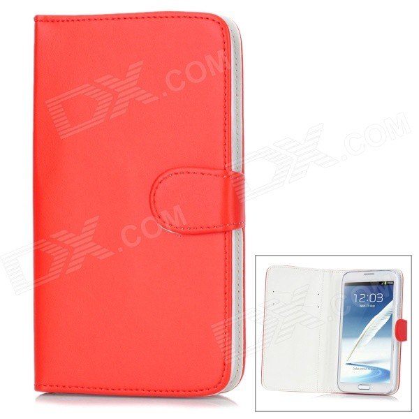 Protective PU Leather Case for Samsung Galaxy Note 2 N7100 - Red metal ring holder combo phone bag luxury shockproof case for samsung galaxy note 8