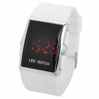 Stylish Rubber Band Square Mirror Red LED Digital Waterproof Wrist Watch - White (1 x CR2016)
