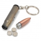 3-in-1 Bullet Style Keychain w/ Ballpoint Pen + Red Laser + Money Detector Light - Copper