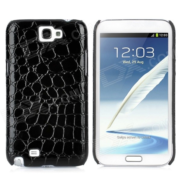 цена Protective Artificial Crocodile Skin Style PU Leather Case for Samsung Galaxy Note II N7100 - Black