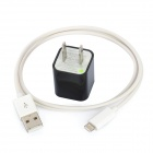 AC Power Adapter Charger + USB Sync Data / Charging Lightning Cable for iPhone 5 - Black (US Plug)