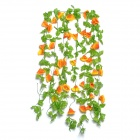 Artificial Morning Glory Vine Flower for Home Wedding Decoration - Orange + Green (5 PCS)