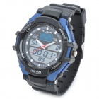 Waterproof Sports Digital + Analog Wrist Watch w/ EL Backlight / Alarm Clock / Stopwatch - Black