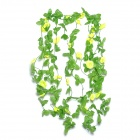 Artificial Morning Glory Vine Flower for Home Wedding Decoration - Yellow + Green (5 PCS)