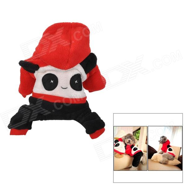 Cute Panda Style Pet Dog Apparel 4-Leg Holes Clothes - Red + Black + White (Size L) christmas velcro warm casual cotton shoes for pet cat dog white red size xxl 4 pcs