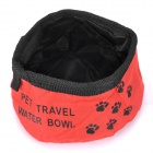 Elegante Tela Oxford Portable Pet Dog Travel Alimentación Alimentador Bowl de agua - Red