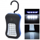 Multi-Function 2-Mode 28-LED White Light Outdoor Lamp w/ Rotational Hook - Black + Blue (3 x AAA)