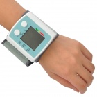 "1.5"" LCD Voice Wrist Style Digital Blood Pressure Monitor - White + Light Blue (2 x AAA)"