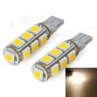 SENCART T10 2.6W 3500K 182lm 13-SMD 5050 LED Warm White Light Dekoration Lampen (DC 12V / 2 PCS)