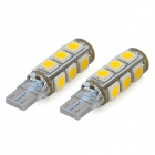 SENCART T10 2.6W 3500K 182lm 13-SMD 5050 LED Warm White Light Decoration Lamps (DC 12V / 2 PCS)