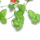 Artificial Morning Glory Vine Flower for Home Wedding Decoration - Red + Green (5 PCS)