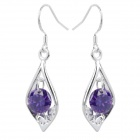 Elegant Cupronickel Crystal Earrings - Purple + Silver (Pair)
