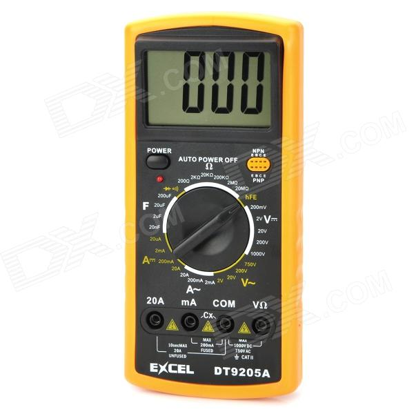 DT92O5A 3 LCD Digital Multimeter - Orange (1 x 9V 6F22 Battery) vici vc99 auto range digital multimeter dmm 1000v ac dc ammeter voltmeter resistance temperature tester capacitance meter lcd