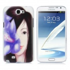 Pretty Girl Pattern Protective Plastic Back Case for Samsung Galaxy Note II N7100 - White + Black