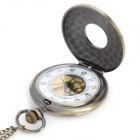Roman Numerals Pattern Quartz Analog Waterproof Pocket Watch - Bronze