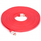 1080P HDMI 1.4 Male to Male Flat Cable w/ 3D Effect - Red + Silver (1450cm)