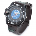 Outdoor Sports Skull Knife Silicone Band Quartz Analog Wrist Watch - Camouflage + Blue
