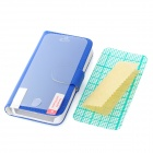 Protective PU Leather Case w/ Card Holder / Back + Front Screen Protector Film for Iphone 5 - Blue