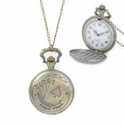 Playing Card Pattern Zinc Alloy Quartz Waterproof Pocket Watch - Bronze (1 x 377)