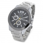 SINOBI 9123 Man's Stainless Steel Band Quartz Analog Waterproof Wrist Watch - Silver + Black