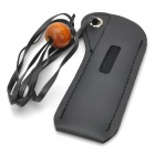 PU Leather Carry Pouch Bag Case w/ Lanyard for Electronic Cigarette - Black