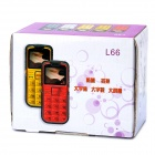 L66 Old Senior GSM Bar Phone w/ 1.8&quot; Screen, Quad-Band, Dual-SIM and FM - Red + Black