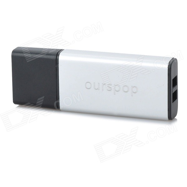 OURSPOP Stylish Aluminum Hot Swapping USB 2.0 Flash Drive - Silver + Black (8GB)