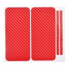 Decorative Protective Carbon Fiber Cover Skin Stickers Set for Iphone 5 - Red
