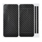 Decorative Protective Carbon Fiber Cover Skin Stickers Set for Iphone 5 - Black