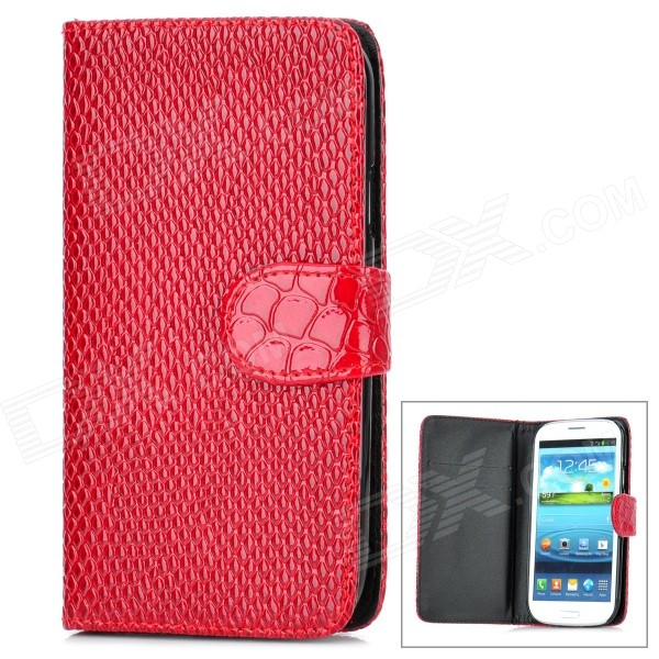 Cool Snake Skin Style Protective PU Leather Case for Samsung Galaxy S3 i9300 - Red cool snake skin style protective pu leather case for samsung galaxy s3 i9300 brown
