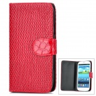 Cool Snake Skin Style Protective PU Leather Case for Samsung Galaxy S3 i9300 - Red