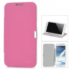 Protective PU Leather Case for Samsung Galaxy Note II N7100 - Pink + White