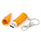 Estilo bala Hot Swapping USB 2.0 Flash Drive / Chaveiro - Golden (8GB)
