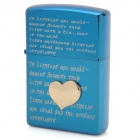 EARTH Love Letter Style Zinc Alloy Fuel Lighter - Blue