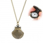 Seashell Shaped Zinc Alloy Quarz Analog Waterproof Pocket Watch - Bronze (1 x 377)