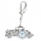 Vintage Car Style Zinc Alloy Quartz Analog Waterproof Keychain Watch - Silver (1 x 626)