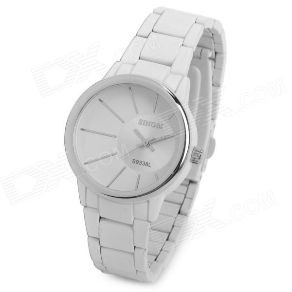 SINOBI 9338 Woman's Stainless Steel Band Quartz Analog Waterproof Wrist Watch - White (1 x 626) wishdoit watch men top brand luxury watches simple business style fashion quartz wrist watch mens stainless steel watch relogio