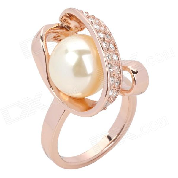 Rose Style Tin Alloy + Rhinestone Natural Pearl Finger Ring - Sandy brown (Size 8) цена 2017