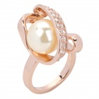 Rose Style Tin Alloy + Rhinestone Natural Pearl Finger Ring - Sandy brown (Size 8)