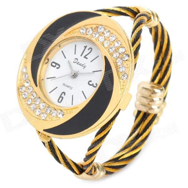 Fashion Woman's Zinc Alloy Band Quartz Analog Waterproof Bracelet Wrist Watch - Golden + More stylish bracelet zinc alloy band women s quartz analog wrist watch black 1 x 377
