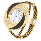 Buy Fashion Woman's Zinc Alloy Band Quartz Analog Waterproof Bracelet Wrist Watch - Golden +