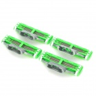 Replacement Steel Shaver Heads for Manual Razor - Green + Grey + Silver (4 PCS)