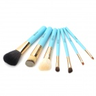 EMILY Portable 7-in-1 Cosmetic Makeup Brushes Set w/ Cylinder Case - Blue + Golden + Black