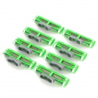 Replacement Steel Shaver Heads for Manual Razor - Green + Silver + More (8 PCS)